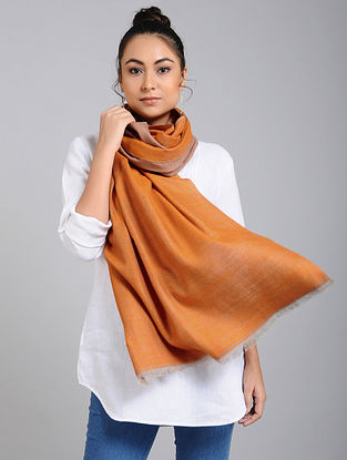 Brown Handwoven Pashmina Reversible Stole