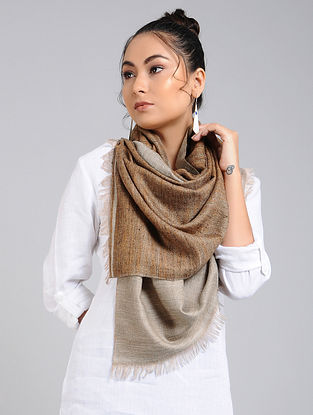 Grey-Brown Handwoven Pashmina Reversible Stole