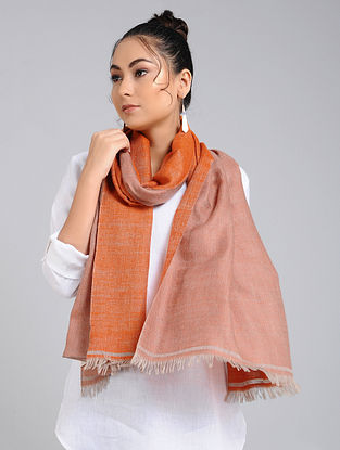 Orange Handwoven Pashmina Reversible Stole
