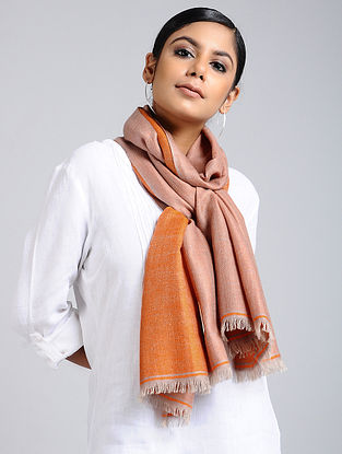 Peach-Orange Handwoven Pashmina Reversible Stole