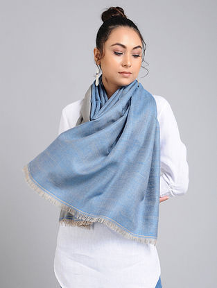 Blue-Grey Handwoven Pashmina Reversible Stole