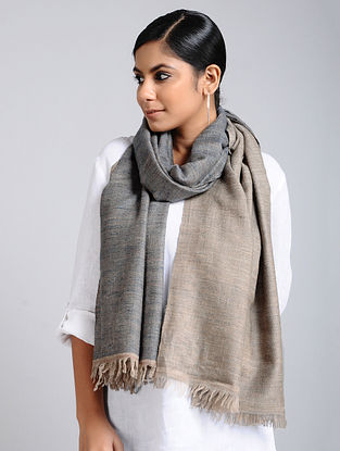 Grey-Blue Handwoven Pashmina Reversible Stole