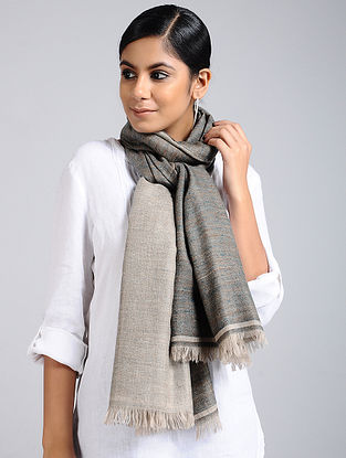 Grey-Beige Handwoven Pashmina Reversible Stole