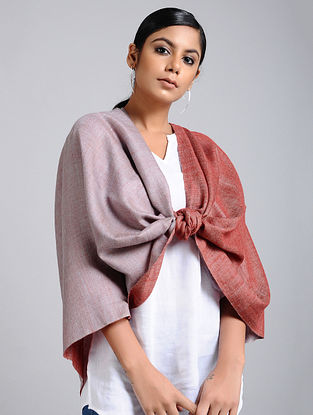Rust Handwoven Pashmina Reversible Stole