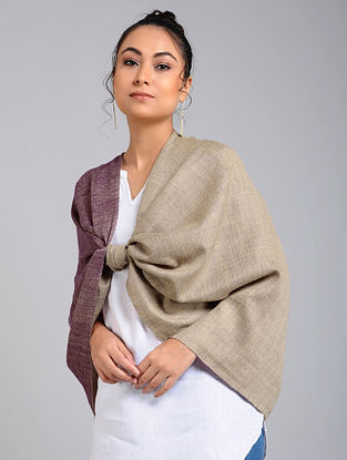 Grey-Purple Handwoven Pashmina Reversible Stole