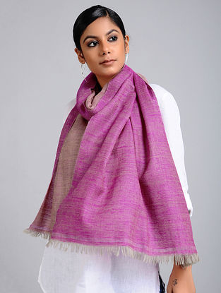Purple Handwoven Pashmina Reversible Stole