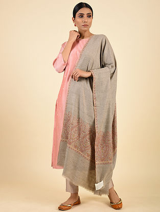 Grey Handwoven Sozni Embroidered Pashmina Cashmere Shawl
