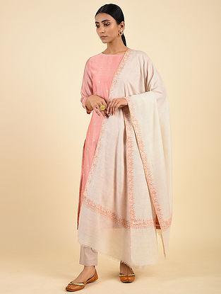 Beige Handwoven Sozni Embroidered Pashmina Cashmere Shawl