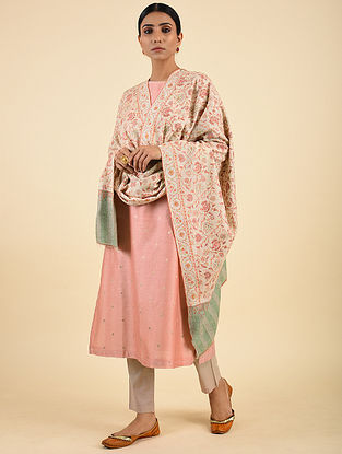 Pink-Grey Handwoven Sozni Embroidered Pashmina Cashmere Shawl