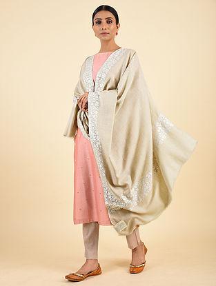 Grey Handwoven Sozni Embroidered Pashmina Cashmere Shawl