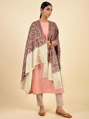 Cream-Brown Handwoven Sozni Embroidered Pashmina Cashmere Shawl