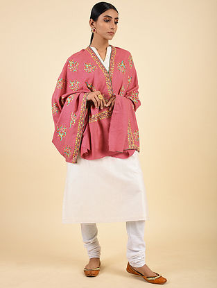 Pink Handwoven Sozni Embroidered Pashmina Cashmere Shawl