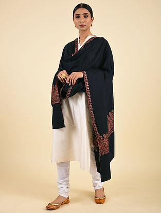 Black Handwoven Sozni Embroidered Pashmina Cashmere Shawl