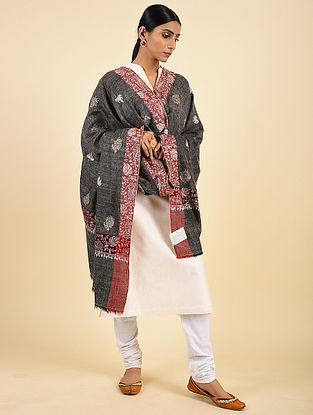 Charcoal-Red Handwoven Sozni Embroidered Pashmina Cashmere Shawl