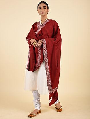 Red Handwoven Sozni Embroidered Pashmina Cashmere Shawl