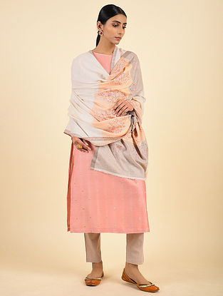 Ivory-Orange-Grey Handwoven Sozni Embroidered Pashmina Cashmere Shawl