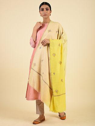 Yellow-Peach Handwoven Sozni Embroidered Pashmina Cashmere Shawl