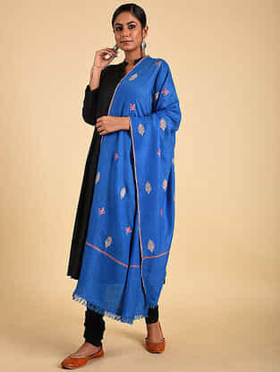 Blue Sozni Embroidered Pashmina Stole