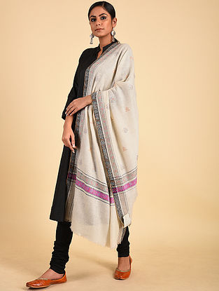 Ivory-Purple Sozni Embroidered Pashmina Stole