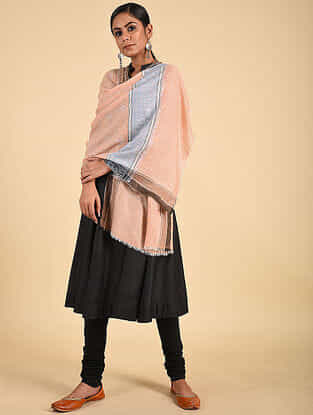 Peach-Blue Sozni Embroidered Pashmina Stole