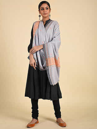 Grey-Peach Sozni Embroidered Pashmina Stole