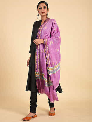 Purple Sozni Embroidered Pashmina Stole