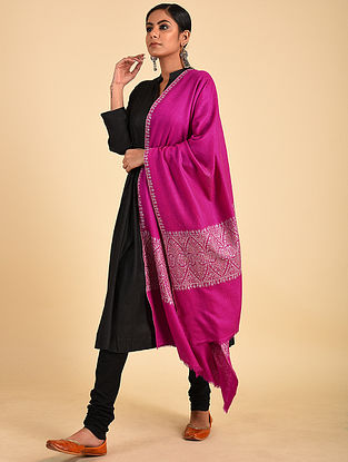 Pink Sozni Embroidered Pashmina Stole