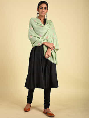 Green Sozni Embroidered Pashmina Stole