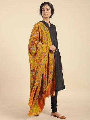 Yellow-Pink Handcrafted Kani Pashmina Cashmere Shawl