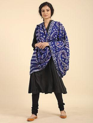 Blue-Ivory Handcrafted Kani Pashmina Cashmere Shawl