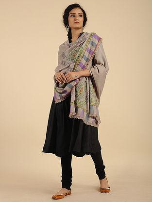 Beige-Purple Handcrafted Kani Pashmina Cashmere Shawl