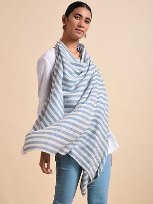 Ivory-Blue Handwoven Pashmina Shawl