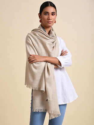 Ivory Handwoven Pashmina Shawl
