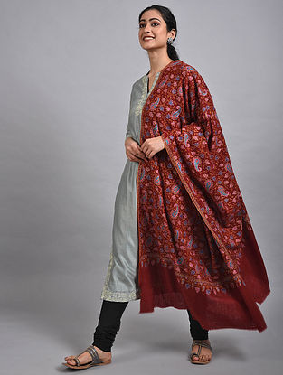 Red-Blue Sozni Embroidered Pashmina Shawl