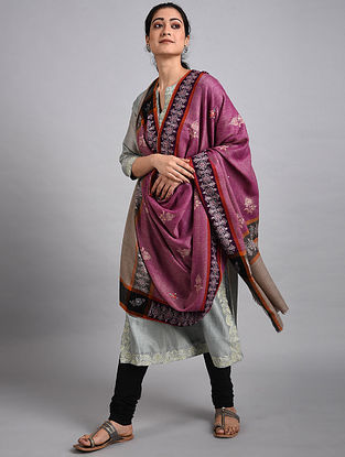 Purple Sozni Embroidered Pashmina Shawl