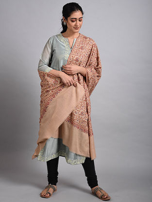 Beige Sozni Embroidered Pashmina Shawl