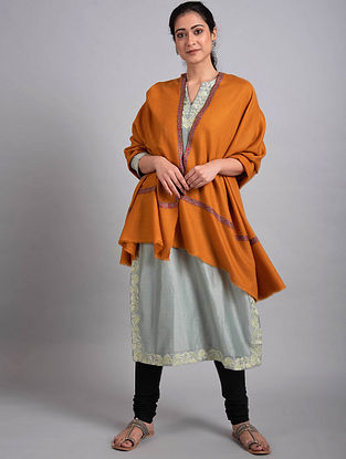 Orange Sozni Embroidered Pashmina Shawl