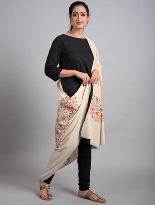 Ivory Sozni Embroidered Pashmina Shawl
