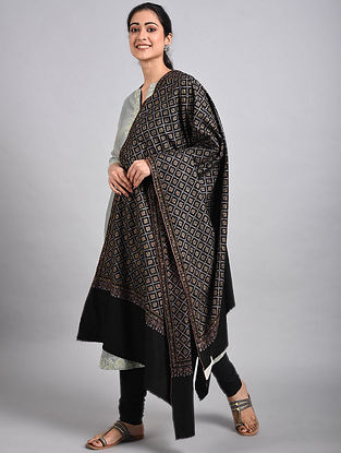 Black Sozni Embroidered Pashmina Shawl