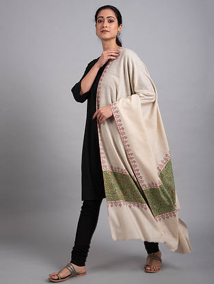 Ivory-Green Sozni Embroidered Pashmina Shawl