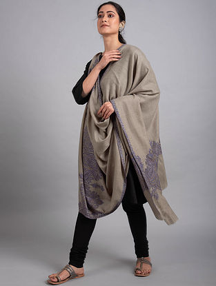 Grey-Blue Sozni Embroidered Pashmina Shawl