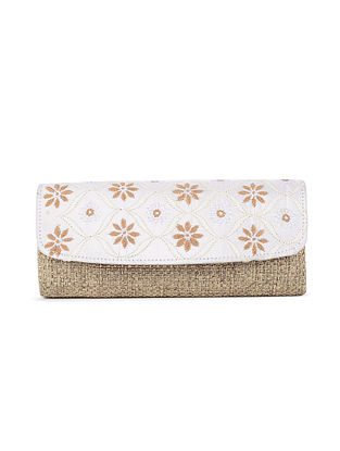 White-Beige Handcrafted Juteand Dupion Envelope Clutch with Chikankari Work