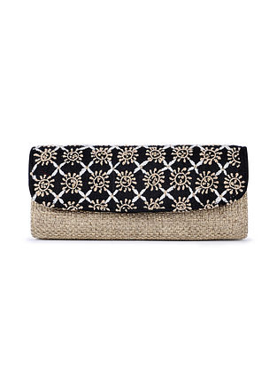 Black-Beige Handcrafted Juteand Dupion Envelope Clutch with Chikankari Work
