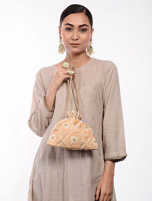 Peach Handcrafted Tussar Silk Potli with Chikankari Work