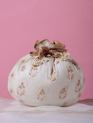 White Gold Handcrafted Tussar Silk Potli with Chikankari Work