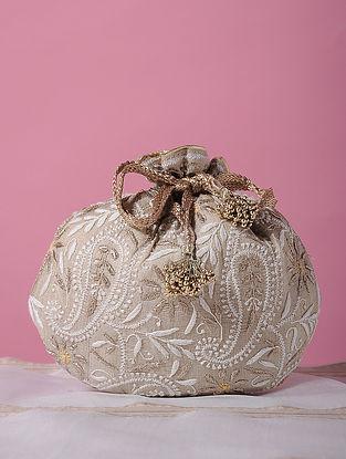 Beige Handcrafted Tussar Silk Potli with Chikankari Work