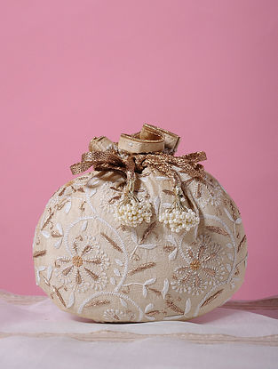 Cream Handcrafted Tussar Silk Potli with Chikankari Work