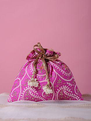 Magenta Handcrafted Tussar Silk Potli with Chikankari Work