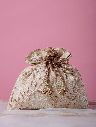 Cream Handcrafted Tussar Silk Potli with Chikankari Work