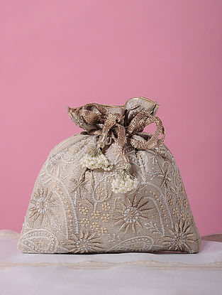 Beige Handcrafted Tussar Silk Potli with Chikankari Work